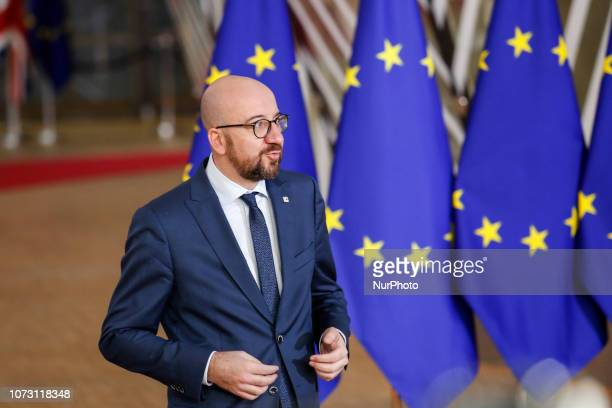 Charles Michel Prime Minister of Belgium arrives to the Europa Building for the European Council Summit in Brussels Belgium on December 14 2018 The...