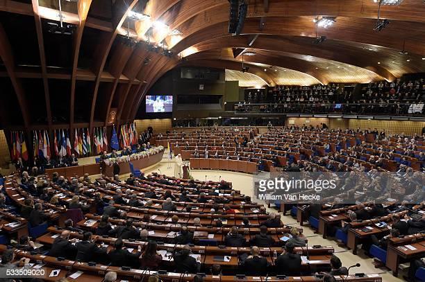 - Charles Michel, président en titre du Conseil de l'Europe accueille le Pape François à Strasbourg - Voorzitterschap van de Raad van Europa: Charles...