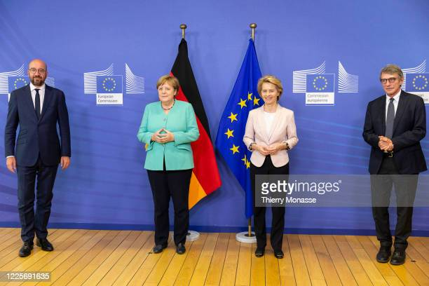 Charles Michel,President of the European Council, German Chancellor Angela Merkel, President of the European Commission Ursula von der Leyen and the...