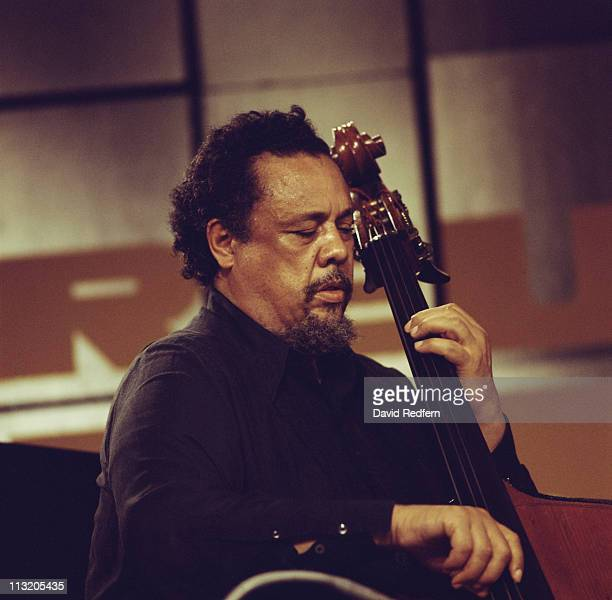 Charles Mingus US jazz musician composer and band leader playing the double bass during a live concert performance at the Montreux Jazz Festival in...