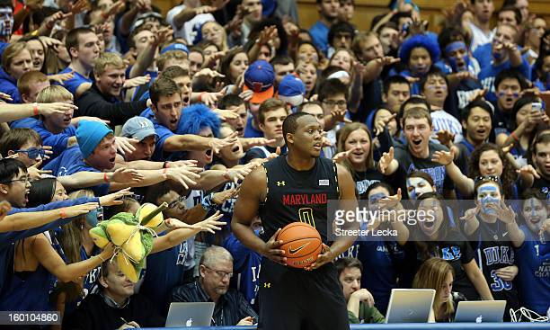 Charles Mitchell of the Maryland Terrapins looks to throw the ball inbounds against the Duke Blue Devils during their game at Cameron Indoor Stadium...