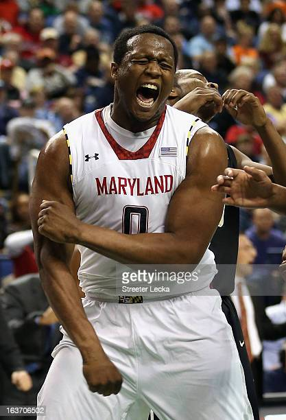 Charles Mitchell of the Maryland Terrapins reacts after making a basket against the Wake Forest Demon Deacons during the first round of the Men's ACC...
