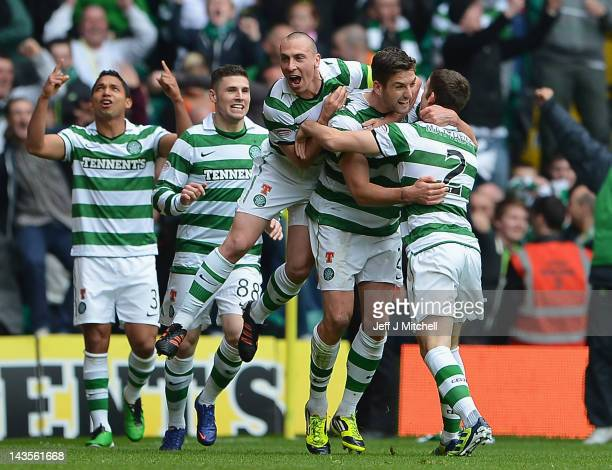 Charles Mulgrew of Celtic celebrates after scoring during the Clydesdale Bank Premier League match between Celtic and Rangers at Celtic Park on April...