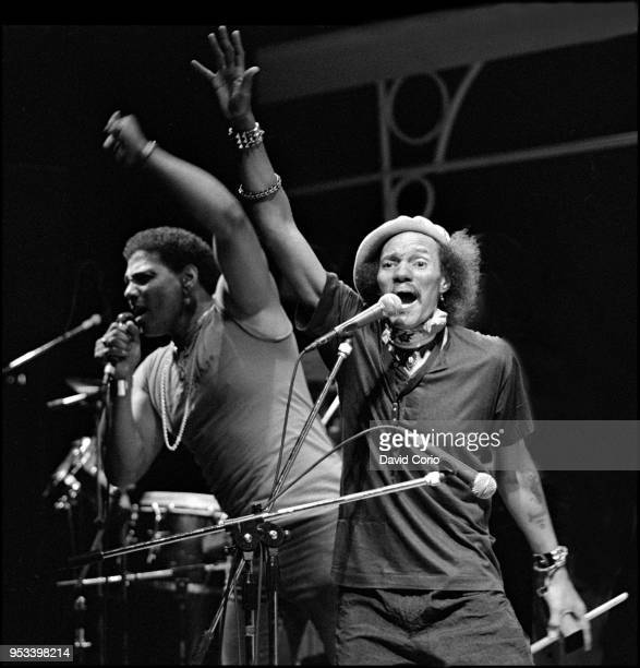 Charles Neville and Aaron Neville of The Neville Brothers performing at the Shaw Theatre, London, UK on 31 January 1985.