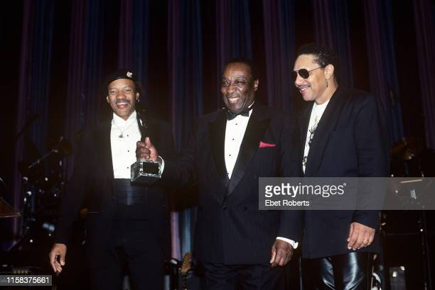 Charles Neville, Dave Bartholomew, and Art Neville at the 1991 Rock and Roll Hall of Fame induction ceremony at the Waldorf Astoria Hotel in New York...