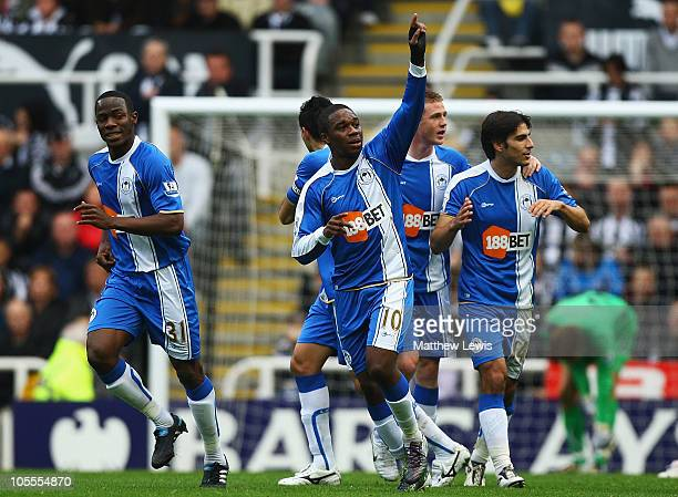 Charles N'Zogbia of Wigan celebrates his second goal during the Barclays Premier League match between Newcastle United and Wigan Athletic at St...