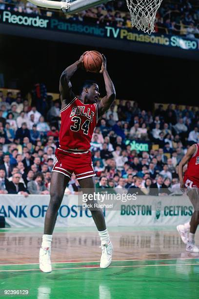 Charles Oakley of the Chicago Bulls rebounds against the Boston Celtics during a game played in 1987 at the Boston Garden in Boston Massachusetts...
