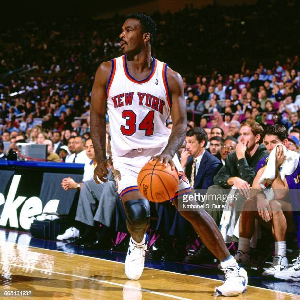 Charles Oakley of the New York Knicks drives against the Utah Jazz on October 21, 1994 at Madison Square Garden in New York City, New York. NOTE TO...