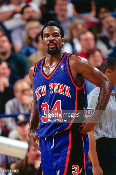 Charles Oakley of the New York Knicks looks on against the Sacramento Kings on February 20 1997 at Arco Arena in Sacramento California NOTE TO USER...