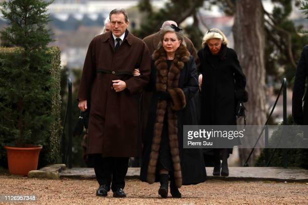 Charles of Wurtemberg and his Wife Diane D'orleans attend the Funeral of Prince Henri of Orleans Count of Paris at Chapelle Royale In Dreux on...