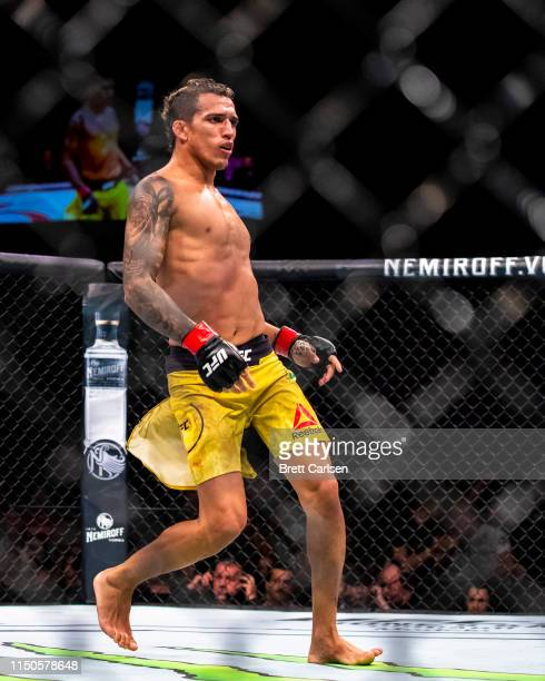 Charles Oliveira dances after defeating Nik Lentz in the second round of a lightweight bout at Blue Cross Arena on May 18 2019 in Rochester New York...