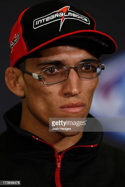 Charles Oliveira interacts with media during the final UFC 162 press conference at the MGM Grand Hotel/Casino on July 4 2013 in Las Vegas Nevada