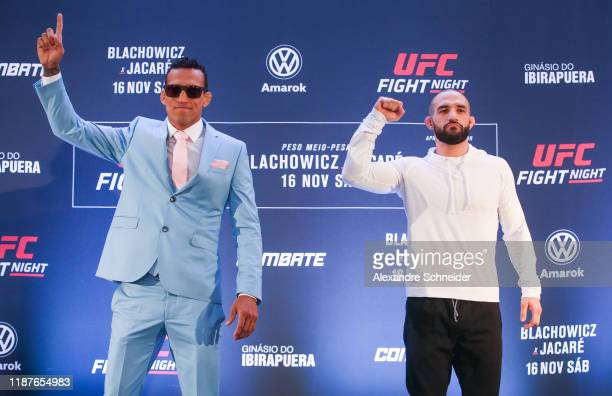 Charles Oliveira of Brazil and Jared Gordon of the United States face off during the Ultimate Media Day at Renaissance Hotel Sao Paulo on November 14...