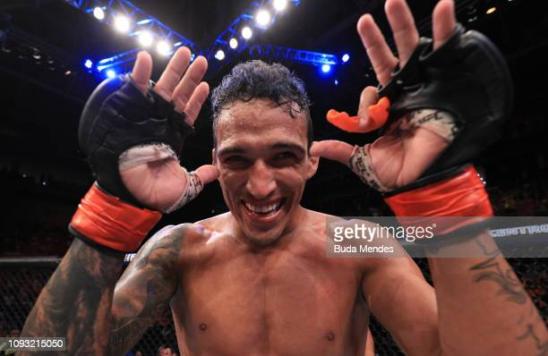 Charles Oliveira of Brazil celebrates after his submission victory over David Teymur of Sweden in their lightweight fight during the UFC Fight Night...