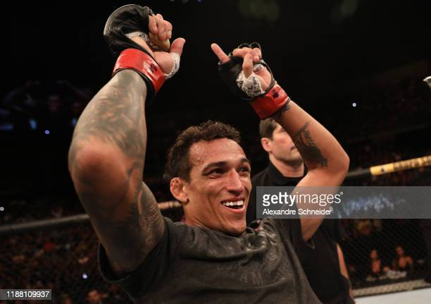Charles Oliveira of Brazil celebrates after his victory over Jared Gordon in their lightweight fight during the UFC Fight Night event at Ibirapuera...