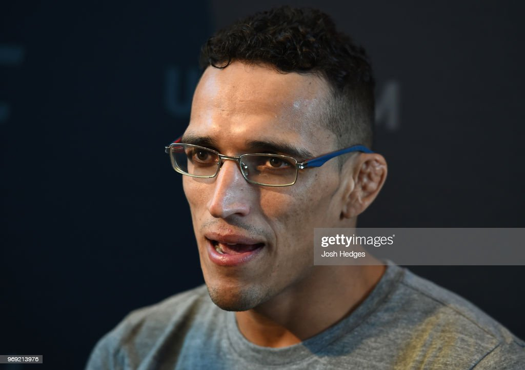 Charles Oliveira of Brazil interacts with media during the UFC 225 Ultimate Media Day at the United Center on June 7, 2018 in Chicago, Illinois.