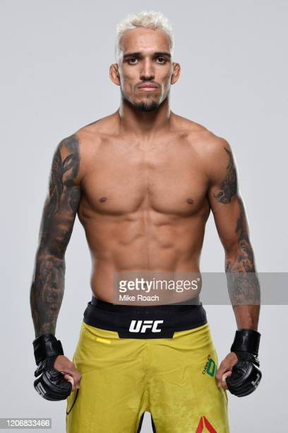 Charles Oliveira of Brazil poses for a portrait during a UFC photo session on March 11, 2020 in Brasilia, Brazil.