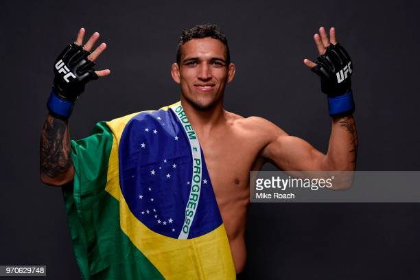 Charles Oliveira of Brazil poses for a post fight portrait backstage during the UFC 225 event at the United Center on June 9 2018 in Chicago Illinois