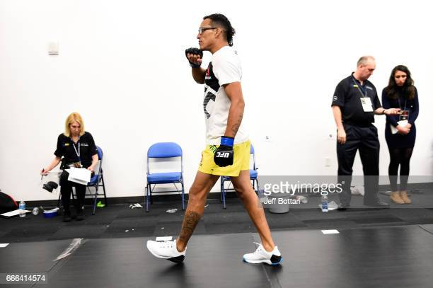 Charles Oliveira of Brazil warms up backstage during the UFC 210 event at the KeyBank Center on April 8 2017 in Buffalo New York
