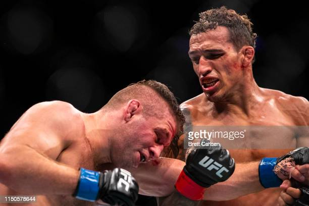 Charles Oliveira throws a right punch while defending against Nik Lentz during a lightweight bout at Blue Cross Arena on May 18 2019 in Rochester New...
