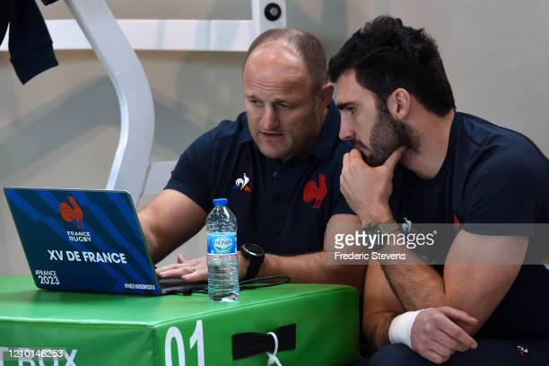 Charles Ollivon and coach William Servat during the National Rugby Center squad training at the Sportsground before the Nat West Six Nations match...