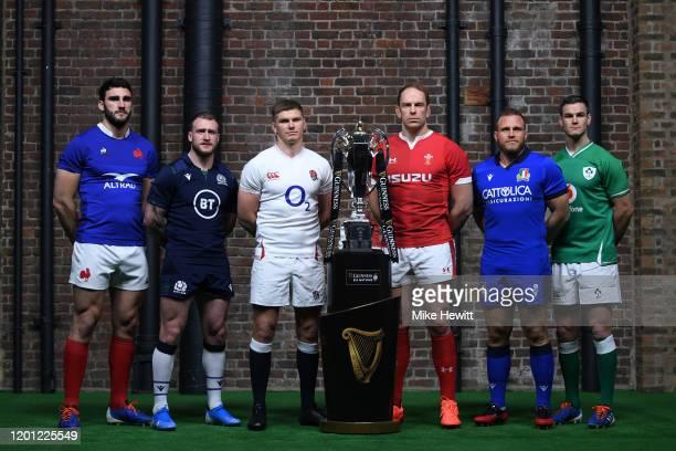 Charles Ollivon, Captain of France, Stuart Hogg, Captain of Scotland, Owen Farrell, Captain of England, Alun Wyn Jones, Captain of Wales, Luca Bigi,...