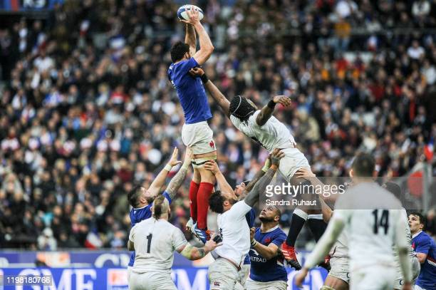 Charles OLLIVON of France and Maro ITOJE of England during the Six Nations match Tournament between France and England at Stade de France on February...