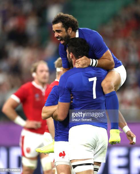 Charles Ollivon of France celebrates scoring his sides second try with Yoann Huget during the Rugby World Cup 2019 Quarter Final match between Wales...