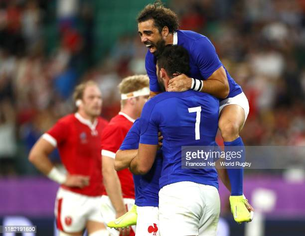 Charles Ollivon of France celebrates with teammates after scoring his team's second try during the Rugby World Cup 2019 Quarter Final match between...