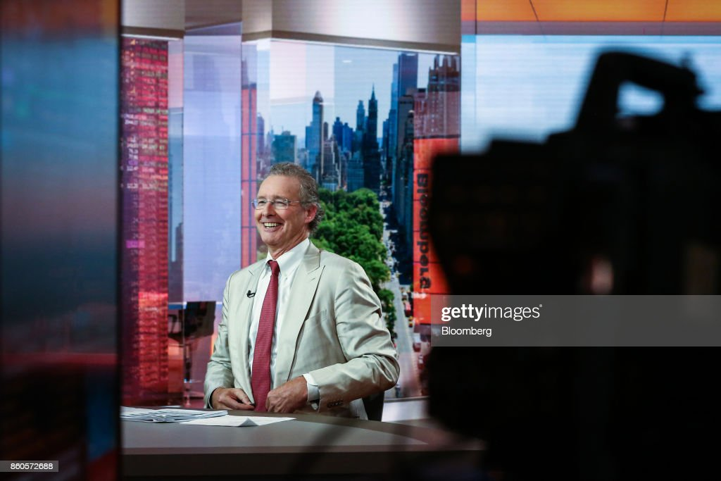 Charles Peabody, managing director of Compass Point Research & Trading LLC, smiles during a Bloomberg Television interview in New York, U.S., on Thursday, Oct. 12, 2017. Peabody discussed the start of bank earnings season as he sees an earnings recession for the big banks in 2018 and 2019. Photographer: Christopher Goodney/Bloomberg via Getty Images