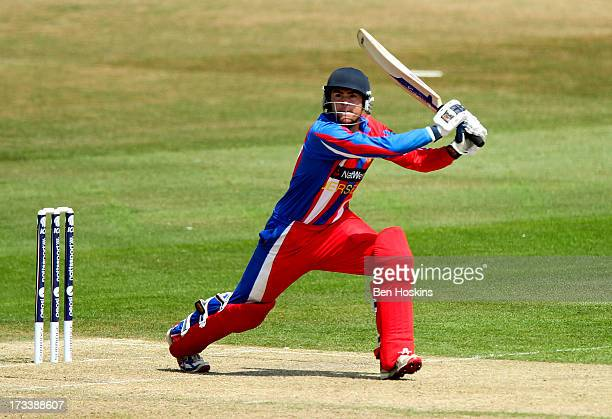 Charles Perchard of Jersey in action during the semi final match between Italy and Jersey at the ICC European Division 1 Championship at The Brighton...