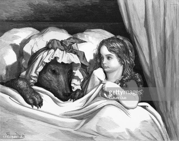 Charles Perrault 's Little Red Riding Hood Little Red Riding Hood with the wolf engraving by Gustave Doré Little Red Riding Hood sits in the bed next...