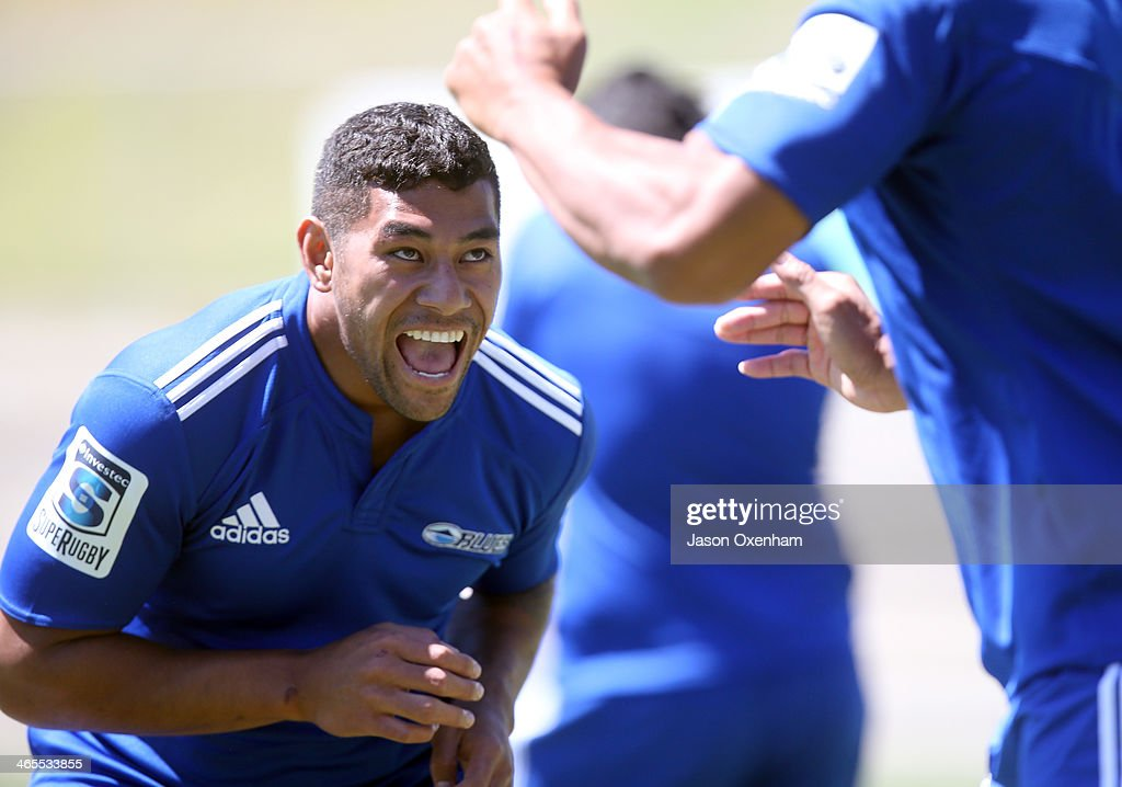 Charles Piutau during a Blues Super Rugby training session at Unitec on January 28, 2014 in Auckland, New Zealand.