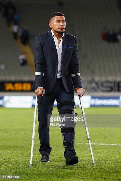 Charles Piutau of the Blues is injured with crutches during the round 12 Super Rugby match between the Blues and the Force at Eden Park on May 2,...