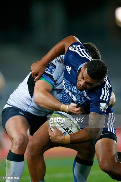 Charles Piutau of the Blues is tackled during the round 12 Super Rugby match between the Blues and the Force at Eden Park on May 2, 2015 in Auckland,...