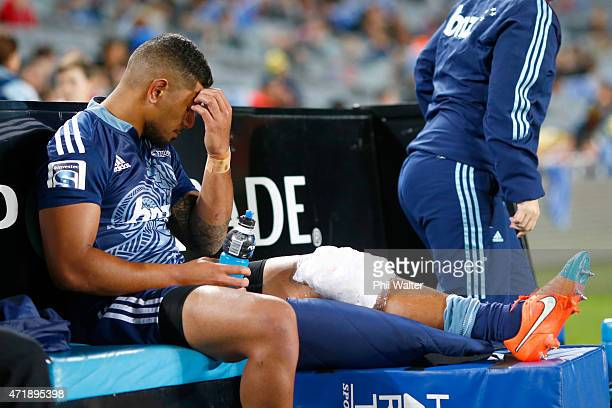 Charles Piutau of the Blues sits iunjured on the bench during the round 12 Super Rugby match between the Blues and the Force at Eden Park on May 2,...