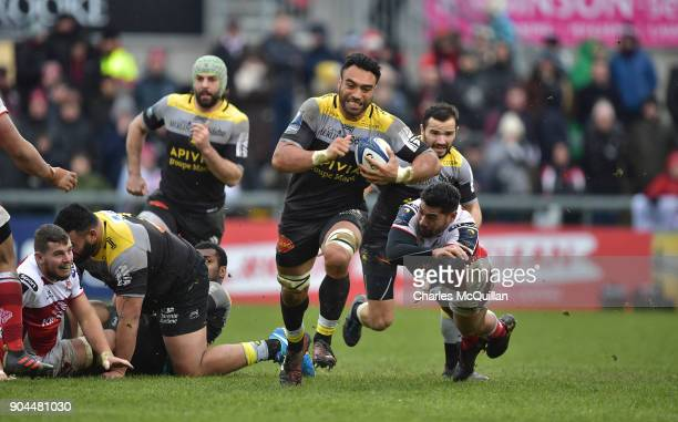 Charles Piutau of Ulster and Victor Vito of La Rochelle during the European Rugby Champions Cup match between Ulster Rugby and La Rochelle at...