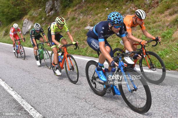 Charles Planet of France and Team Novo Nordisk / Sjoerd van Ginneken of The Netherlands and Team Roompot-Charles / Etienne van Empel of The...