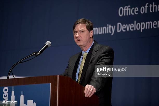 Charles Plosser chairman of the Federal Reserve Bank of Chicago speaks during the 2014 National Interagency Community Reinvestment Conference at the...