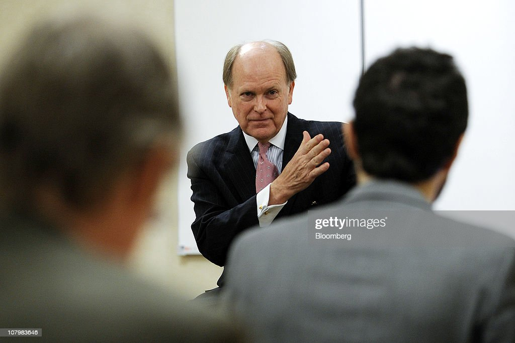 Charles Plosser, president and chief executive officer of the Federal Reserve Bank of Philadelphia, speaks to the media following an address to the Risk Management Association in Philadelphia, Pennsylvania, U.S., on Tuesday, Jan. 11, 2011. Plosser said he takes 'seriously' the central bank's commitment to regularly reassess its plan to purchase $600 billion in bonds and that debate among policy makers strengthens the central bank's credibility. Photographer' Bradley C. Bower/Bloomberg via Getty Images
