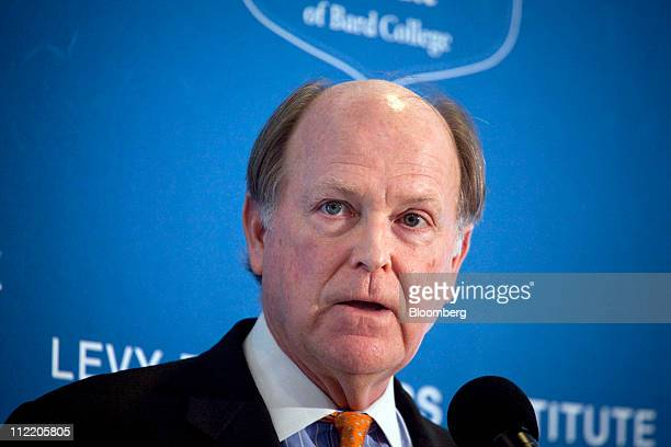 Charles Plosser president and chief executive officer of the Federal Reserve Bank of Philadelphia speaks at the Levy Economics Institute conference...