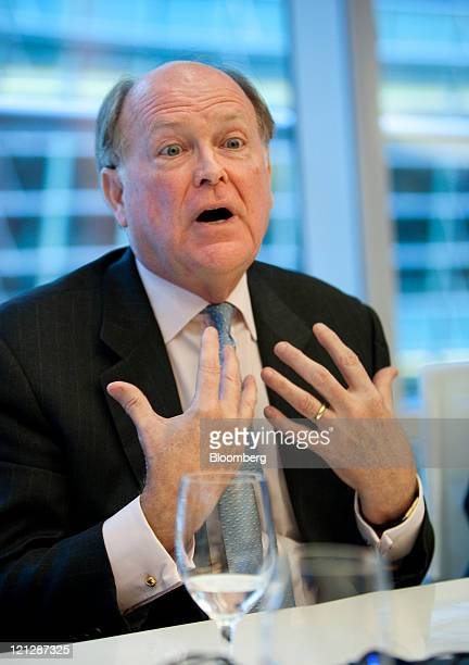 Charles Plosser president and chief executive officer of the Federal Reserve Bank of Philadelphia speaks during an interview in New York US on...