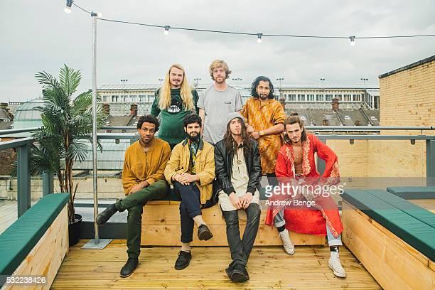 Charles Prest, Sam Rowe, Kamal Rasool, Craig Doporto and Karthik Poduval of Flamingods pose at Headrow House on May 18, 2016 in Leeds, England.