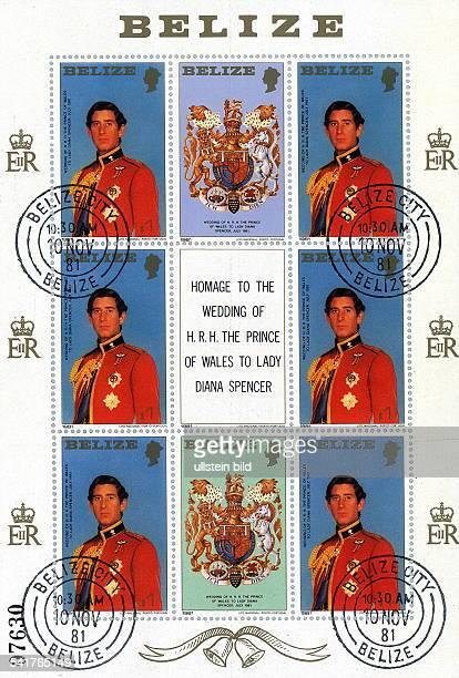 Charles Prince of Wales *Thronfolger GB Briefmarkensatz aus Beliz Hondurasals Hommage an die Hochzeit von PrinzCharles und Lady Diana 1981