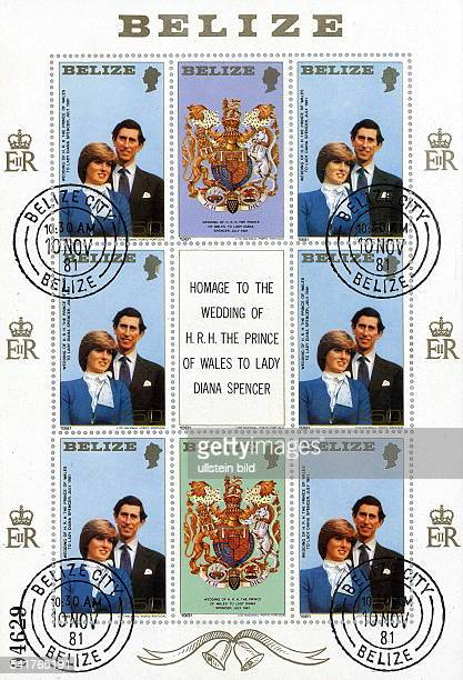 Charles Prince of Wales *Thronfolger GB Briefmarkensatz aus Belizeb Hondurasals Hommage an die Hochzeit von PrinzCharles und Lady Diana 1981