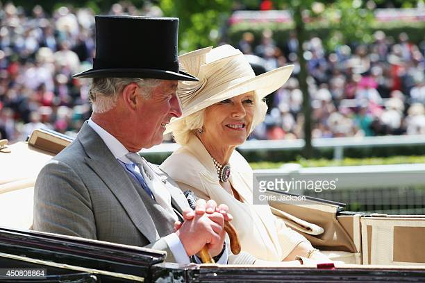 Charles Prince of Wales and Camilla Duchess of Cornwall attend day two of Royal Ascot at Ascot Racecourse on June 18 2014 in Ascot England