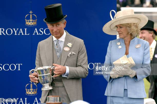 Charles Prince of Wales and Camilla Duchess of Cornwall attend the first day of Royal Ascot 2005 at York Racecourse in York England on June 14 2005...