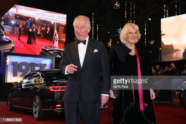 "Charles, Prince of Wales and Camilla, Duchess of Cornwall attend the World Premiere and Royal Performance of ""1917"" at Odeon Luxe Leicester Square on..."