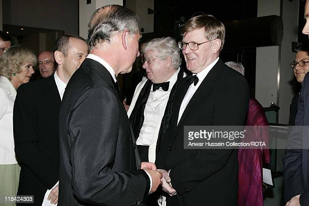 Charles Prince of Wales and Camilla Duchess of Cornwall meet writer Alan Bennett and actor Richard Griffiths