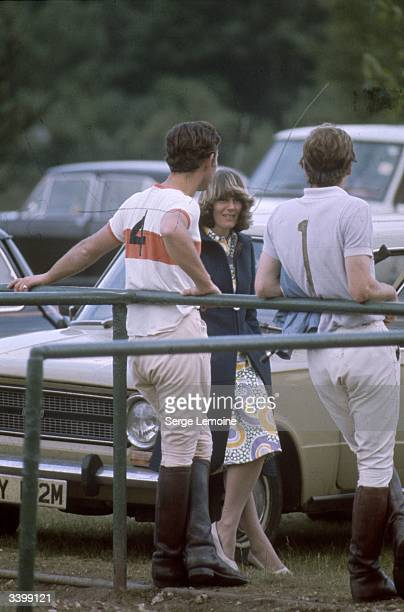 Charles, Prince of Wales and Camilla Parker-Bowles resting after a polo match, circa 1972.